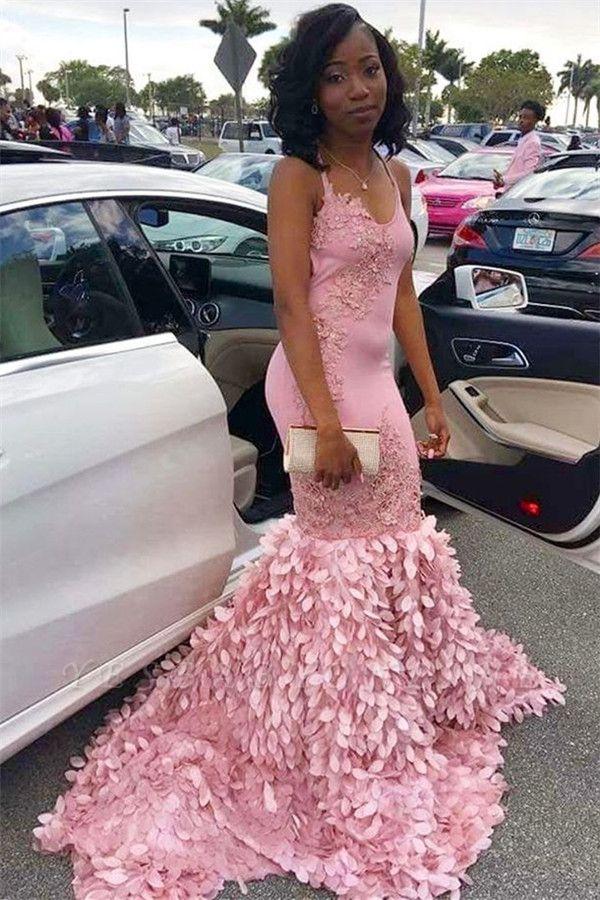Pink Mermaid Spaghetti Straps Sleeveless Appliques Elegant Long Prom Dress