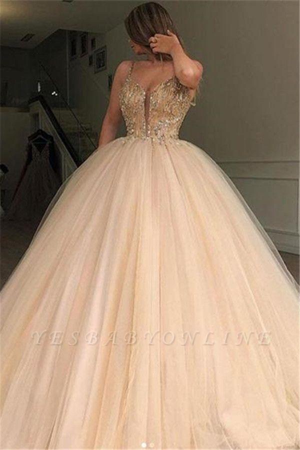 Glamorous Ball Gown Spaghetti Straps Beaded Long Prom Dress