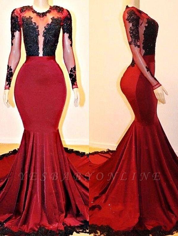 Long Sleeves Mermaid Appliques Sheer Prom Dresses