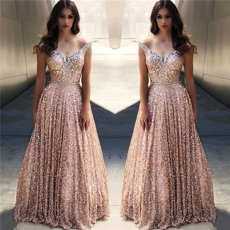 Rose Gold Sequins Evening Dresses Cheap Off The Shoulder Sexy Bling Bling Prom Dress Yesbabyonline Com