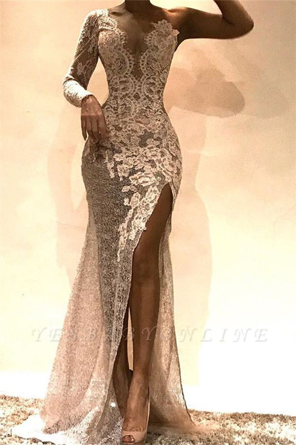 Glamorous Sheath One-Shoulder Side Slit Lace Long Prom Dress