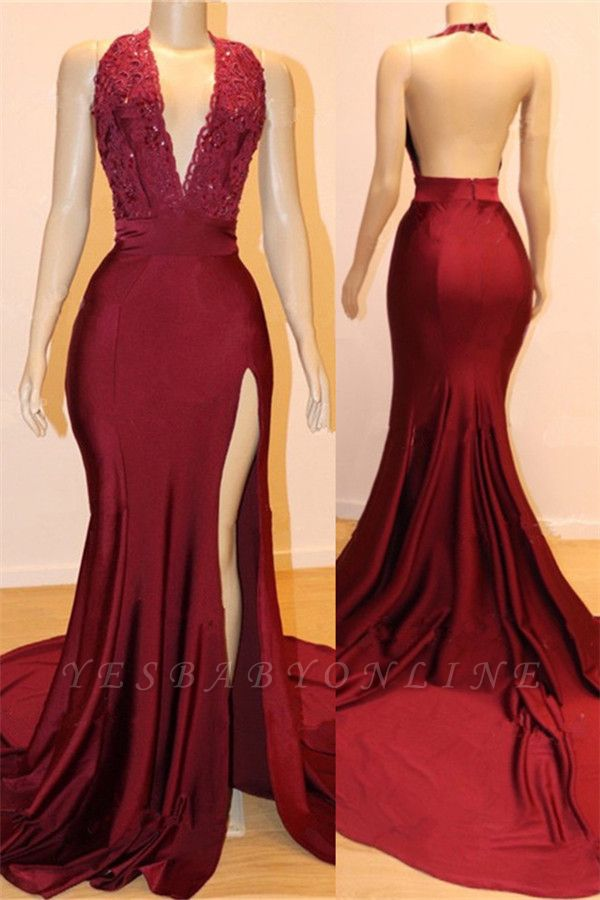 Sexy Backless Burgundy Prom Dresses with Slit | V-neck Halter Affordable Evening Gowns with Court Train