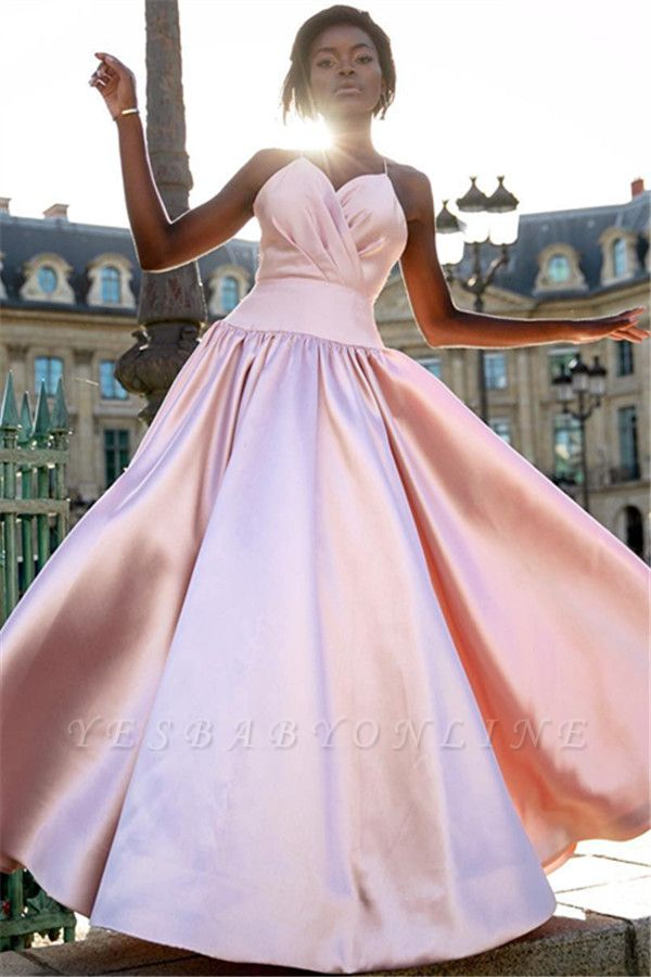 Elegant Simple Pink Spaghetti-Straps Prom Dresses | 2019 Sleeveless A-Line Ruffles Cheap Evening Dresses