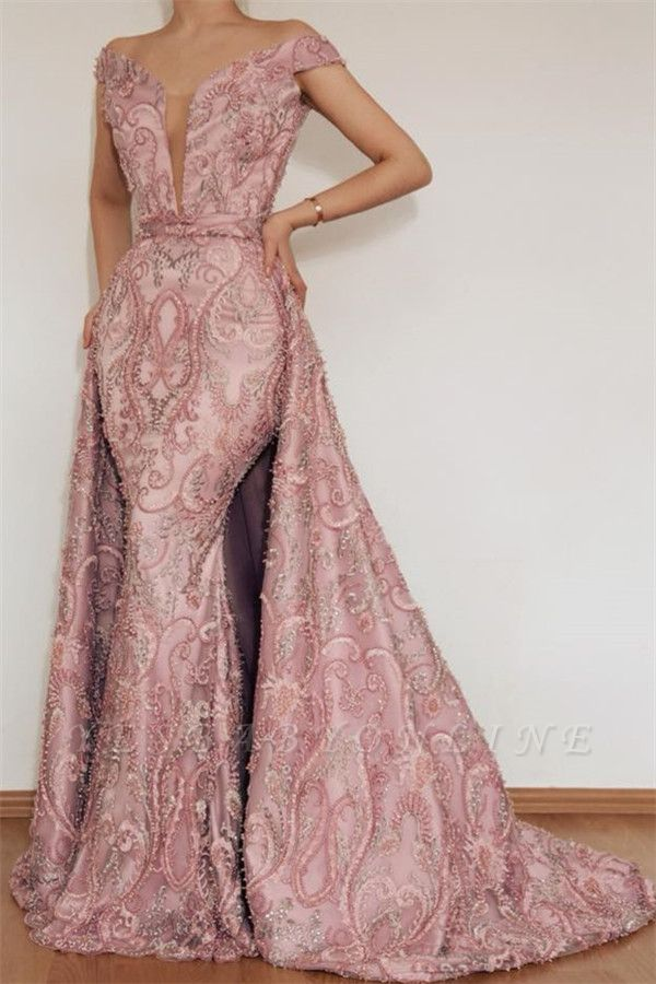 Gorgeous Mermaid Off The Shoulder Applique Long Pink Long Prom Dress With Detachable Skirt