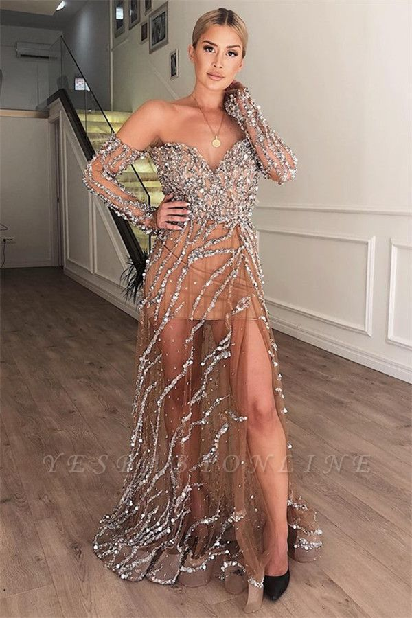 Gorgeous A-Line Sweetheart Off The Shoulder Crystal Appliques  Long Prom Dress