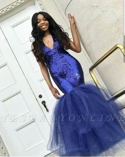 Sexy Navy Blue Mermaid Sequins Prom Dresses | Cheap  Sleeveless V-Neck Evening Dresses