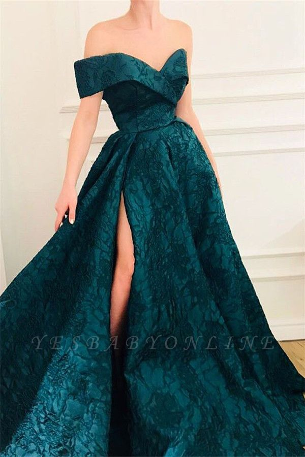 Elegant A-Line Off The Shoulder Lace Evening Dresses