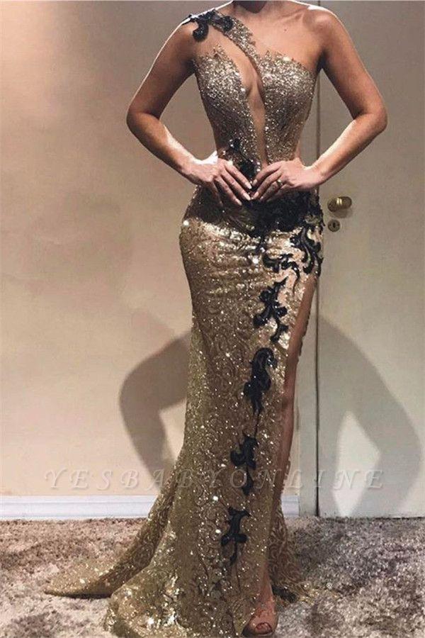 Gorgeous Sheath One-Shoulder Sequins Applique Long Prom Dress