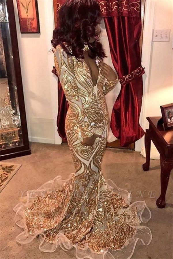 Glamorous Deep V-Neck Long Sleeves Gold Appliques Mermaid Long Prom Dress