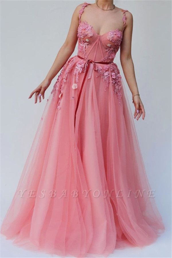 Pink Gorgeous A-line Spaghetti  Flower Applique Long Prom Dress