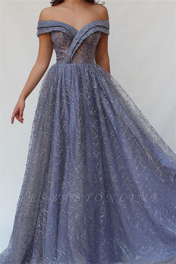 Gorgeous A-Line Off The Shoulder  Beaded Long Prom Dress
