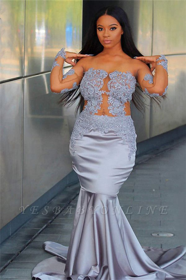 Chic Off The Shoulder Long Sleeves Mermaid Prom Dresses | 2019 Sheer  Appliques Evening Gowns