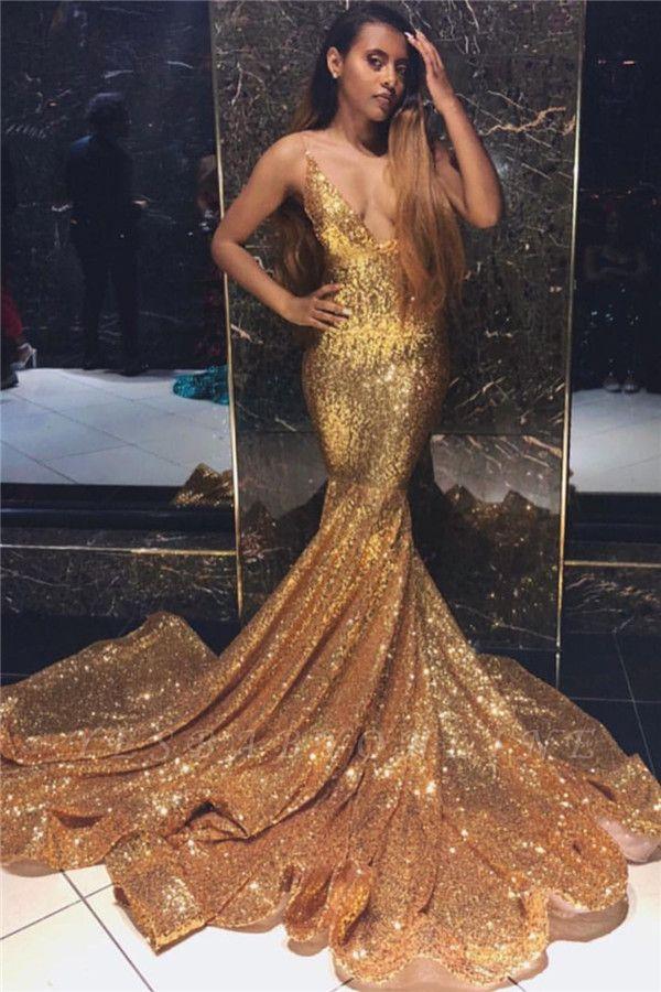 Newest Gold Mermaid Spaghetti Straps V-Neck Sleeveless Sequins Long Prom Dress
