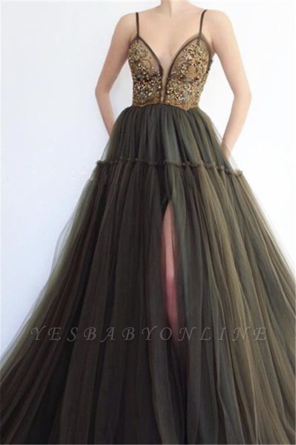 Elegant Side Slit Spaghetti Straps  Long Prom Dress