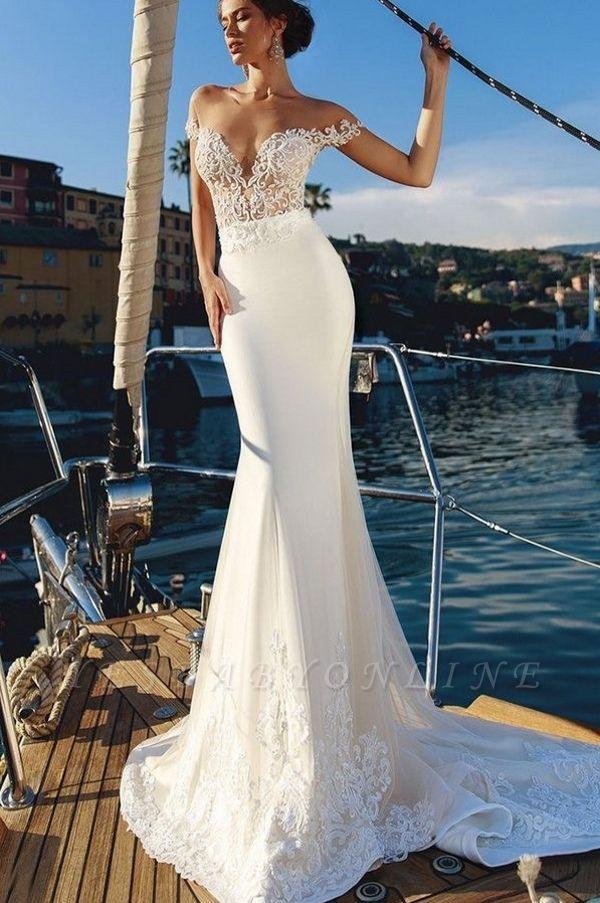 Gorgeous Mermaid Off-the-Shoulder V-Neck Long Wedding Dress