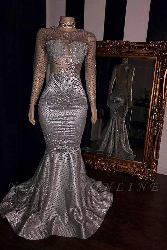 Elegant Appliques Sheer  Prom Dresses | Sliver Long Sleeves Mermaid Evening Gowns