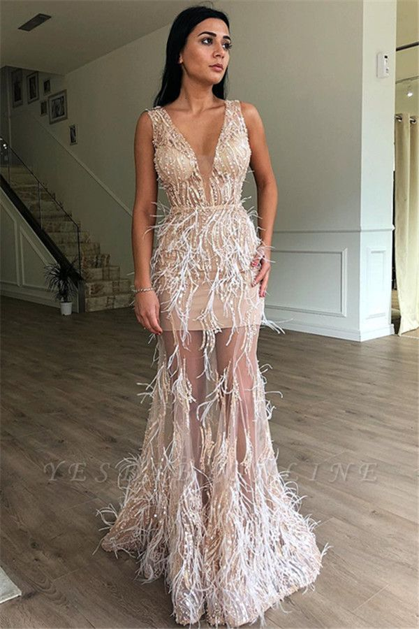 Gorgeous A-Line Sleeveless Sheer  Feather Long Prom Dress