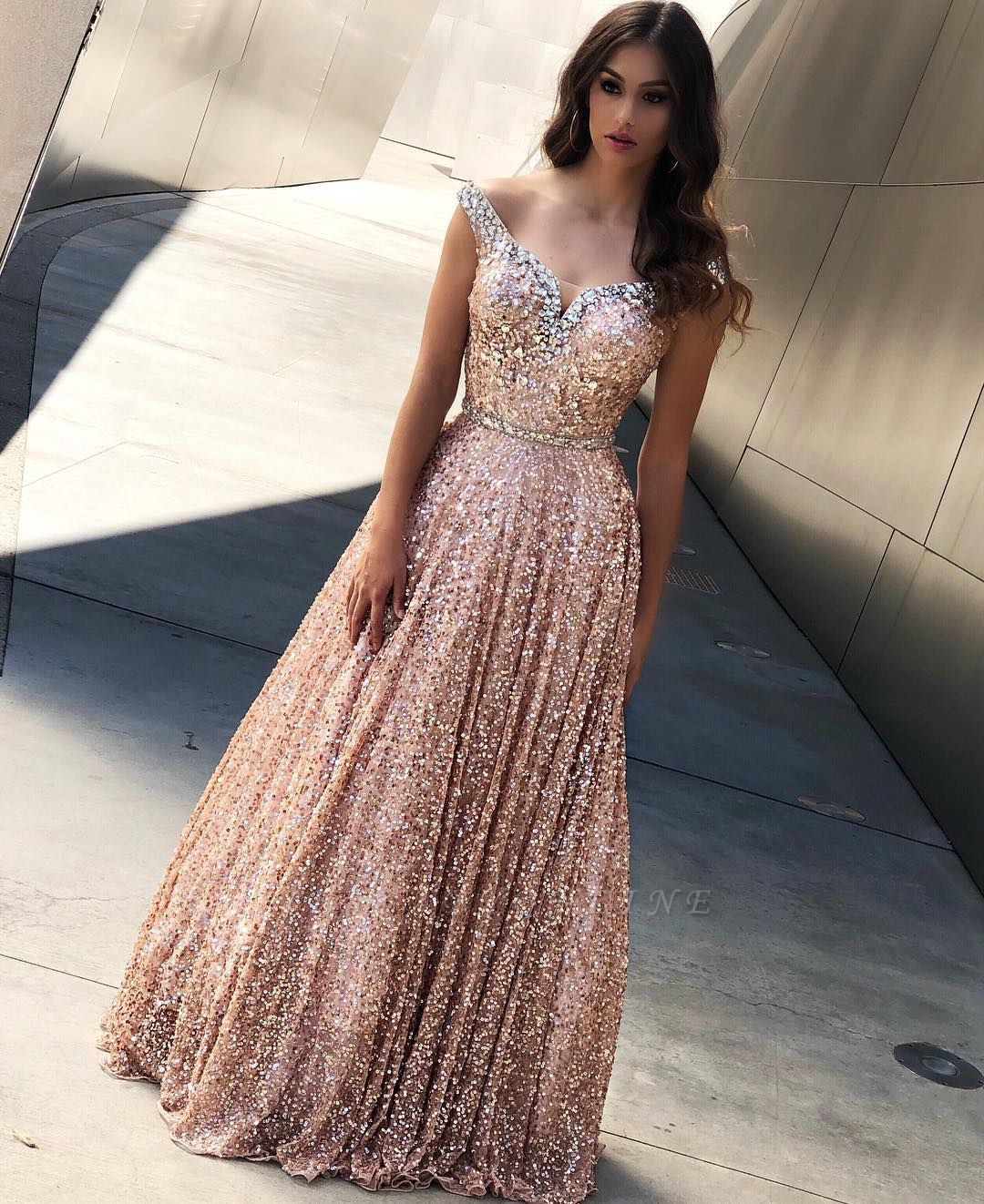 Rose Gold Sequins Evening Dresses |Cheap Off The Shoulder Sexy Bling-bling Prom Dress