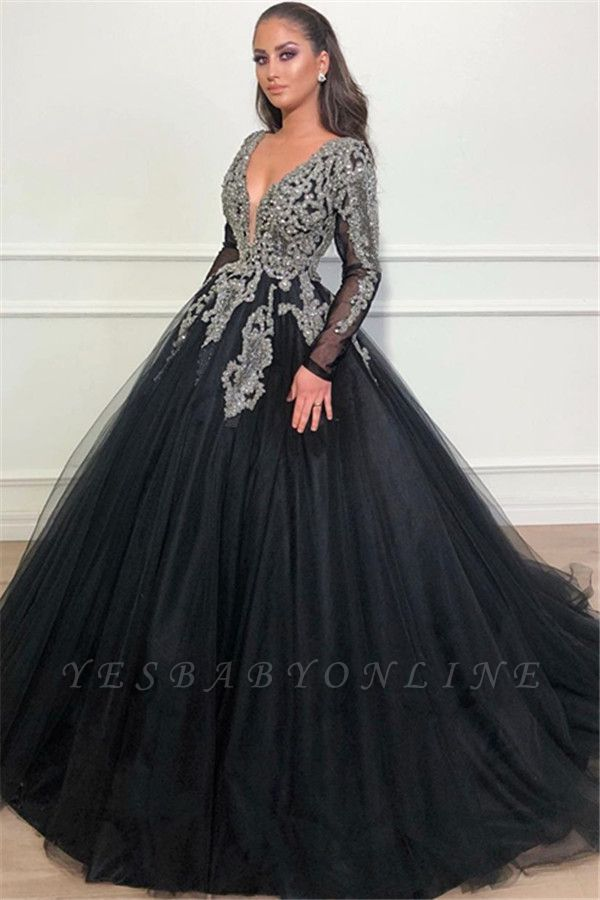Deep V-Neck Long Sleeves Appliques Overskirt Black Ball Gown Long Prom Dress