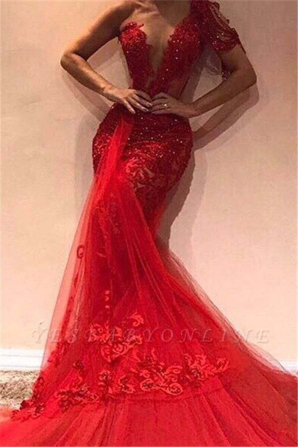 Gorgeous Mermaid One Shoulder  Appliques Long Prom Dress