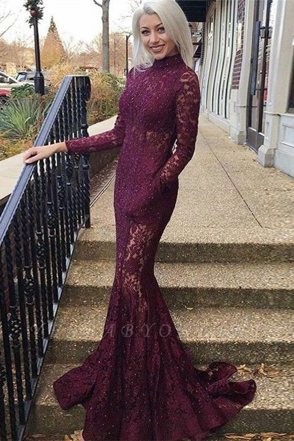 Gorgeous Mermaid High Neck Long Sleeves Lace Long Prom Dress