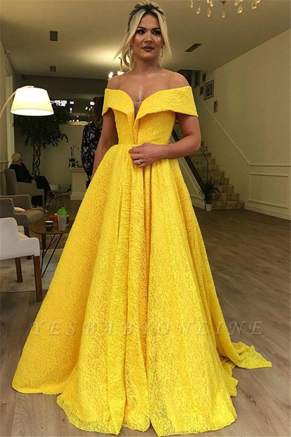 Gorgeous A-Line Off The Shoulder Lace Yellow Long Prom Dress