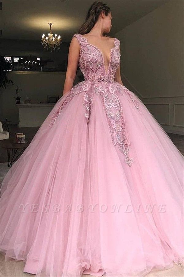 Pink Ball Gowm V-Neck Applique  Sleeveless Long Prom Dersses