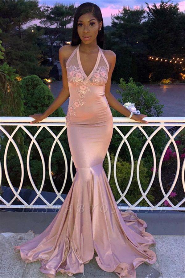 Gorgeous Pink Halter V-Neck Sleeveless Flower Appliques Long Prom Dress