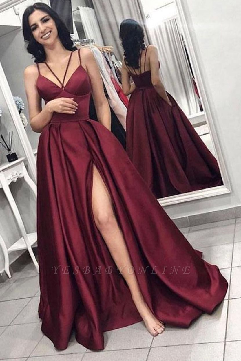Sexy Sleeveless Front Split Prom Gown | Burgundy Spaghetti-Straps A-Line Evening Dress