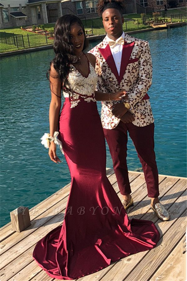 Burgundy Spaghetti Straps Applique Mermaid Sleeveless Long Prom Dress