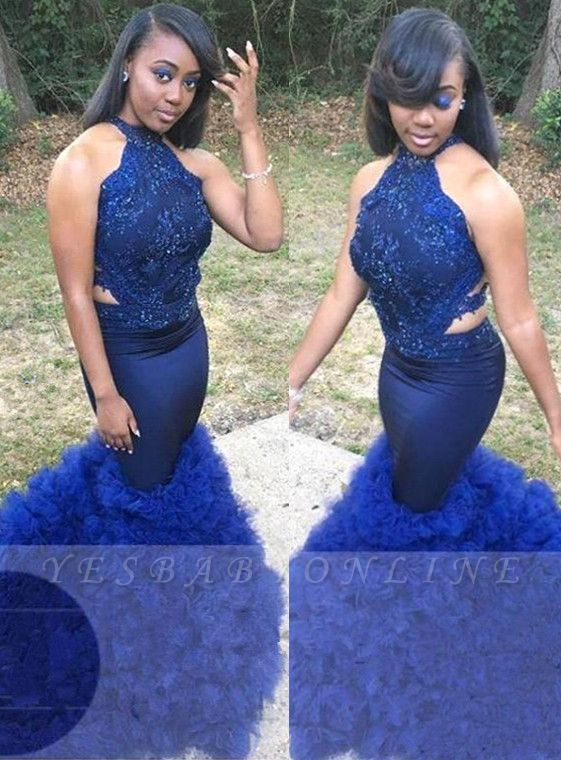 Royal Blue Halter Sleeveless Prom Gown | Sexy Flower Appliques Mermaid Evening Dress