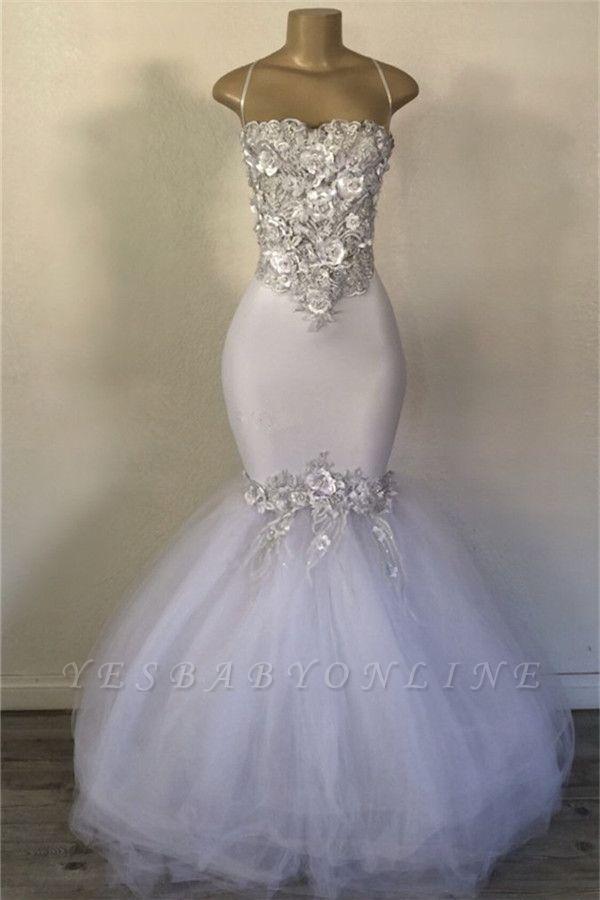 Mermaid Strapless  Applique Elegant Long Prom Dress