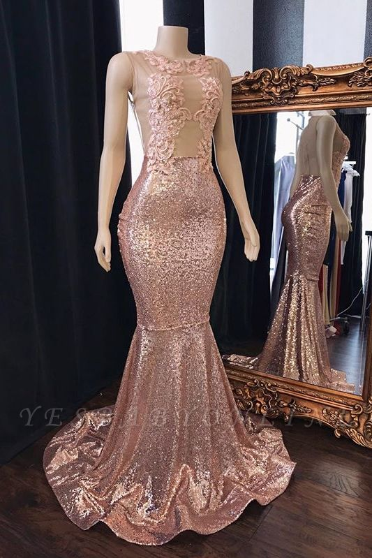 Pink Sequins Appliques Mermaid Prom Dresses | 2019 Sleeveless Sheer  Evening Gowns