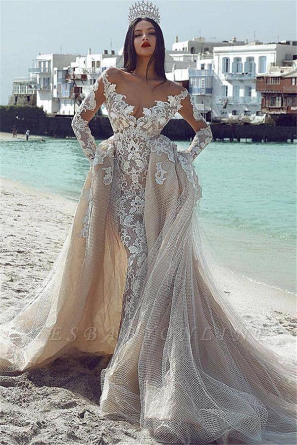 Glamorous V-Neck Long Sleeves  Applique Overskirt Wedding Dress