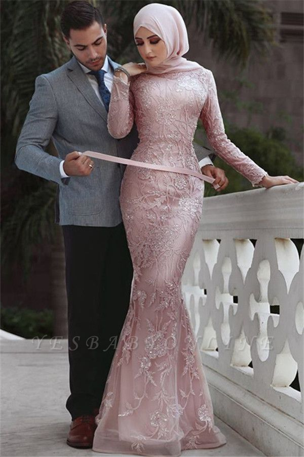 Pink Detachable Long-Sleeves Prom Dresses | Cheap Appliques Lace Mermaid Evening Gowns