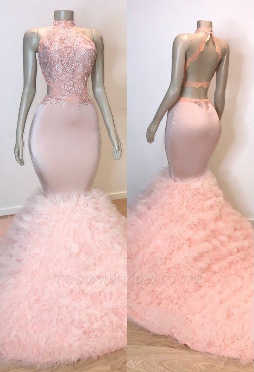 Pink Halter Sleeveless Mermaid Prom Dresses | 2019 Chic Open Back Lace  Evening Gowns