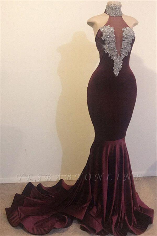 Burgundy Mermaid High Neck Velvet Long Prom Dress