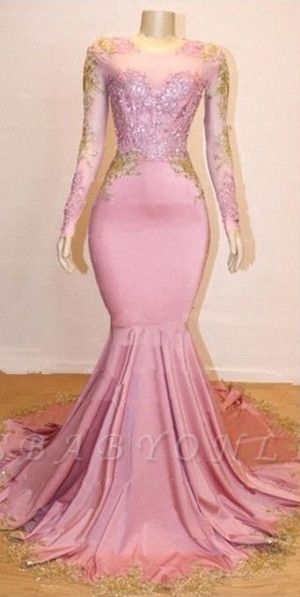 Pink Appliques Long Sleeves Prom Dresses | 2019 Gorgeous Mermaid Evening Gowns