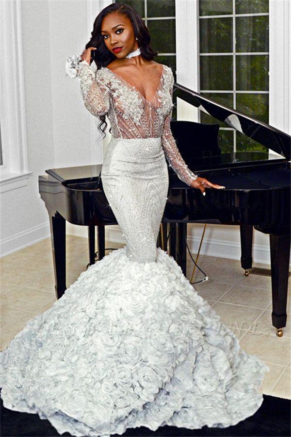 Elegant Mermaid V-Neck Flower Appliques Long Sleeves Long Prom Dress