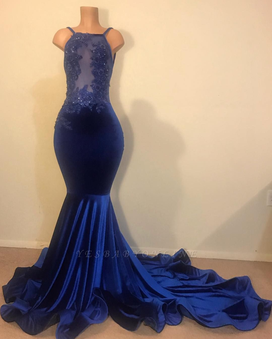 Sexy Mermaid Spahgetti-Straps Openback Velvet Applique Long Prom Dress