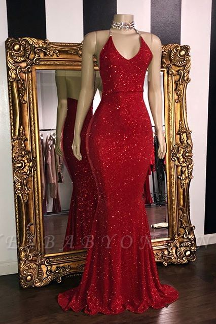 Sexy Sequins Sleeveless Mermaid Prom Dresses | Glitter 2019 Halter Red Evening Gowns