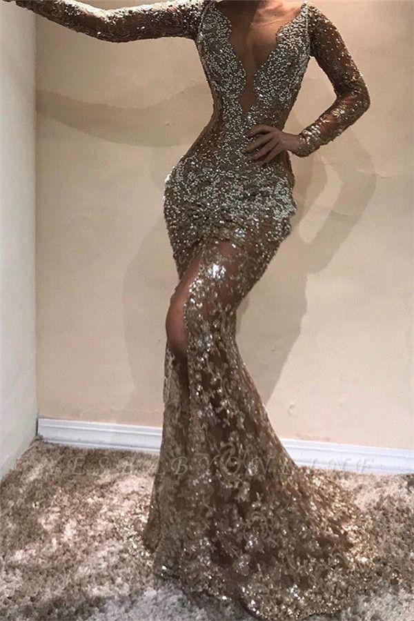 Glamorous Mermaid Long Sleeves Open Back Sequins Long Prom Dress