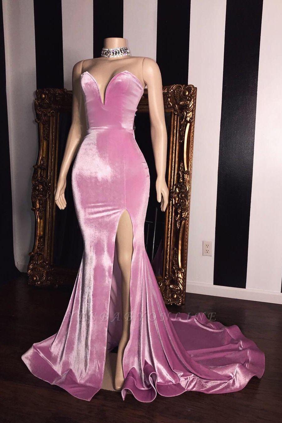 Pink Velvet Sweetheart Prom Dresses   Elegant Side Slit Mermaid Long Evening Gowns