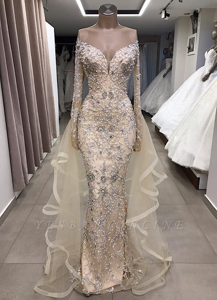 Luxury Long sleeve off-the-shoulder prom dress with fully-covered beads