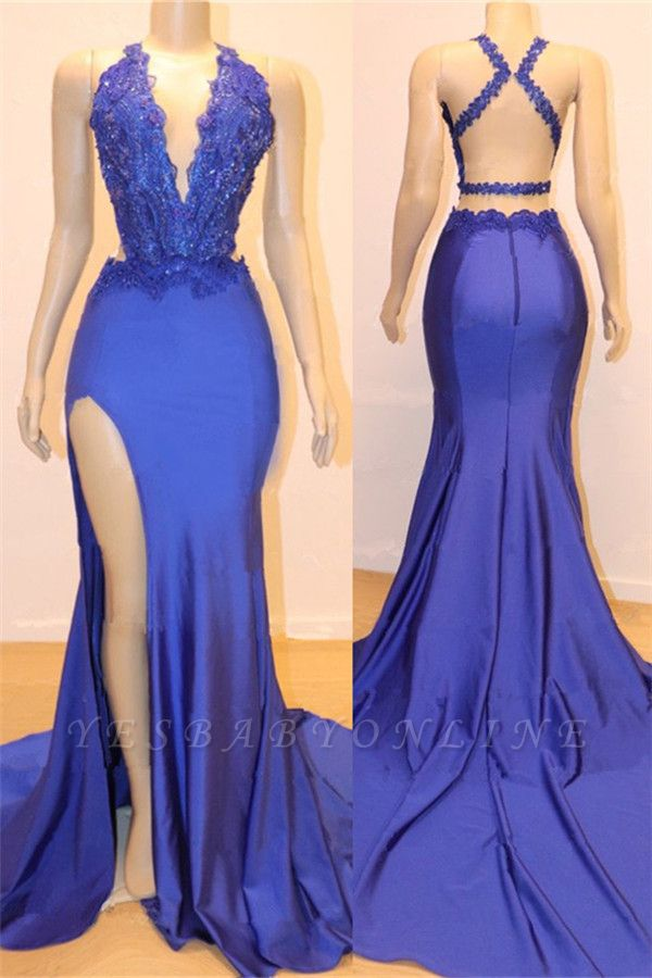 Sexy V-neck Sexy Open back Side Slit Prom Dresses Cheap | Elegant Royal Blue Mermaid Beads Lace Evening Gowns