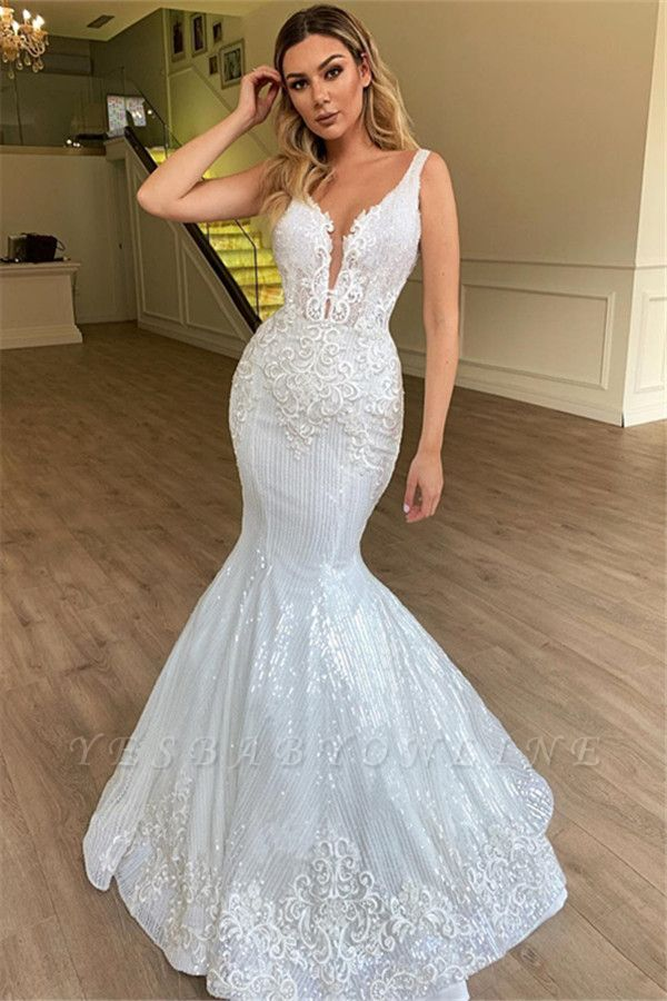 Gorgeous Mermaid Sheer Straps Sleeveless Appliques Tulle Wedding Dress