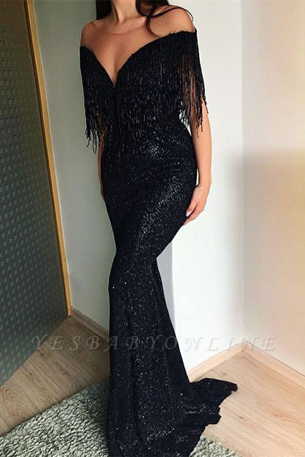 Off The Shoulder Sequin Mermaid Black Prom Dresses | Cheap Tassels Strapless Evening Gowns