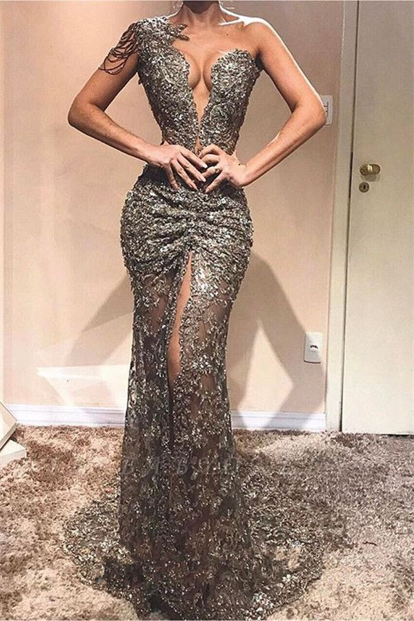 Elegant Sheath One-Shoulder Appliques Front Split Crystal Long Prom Dress