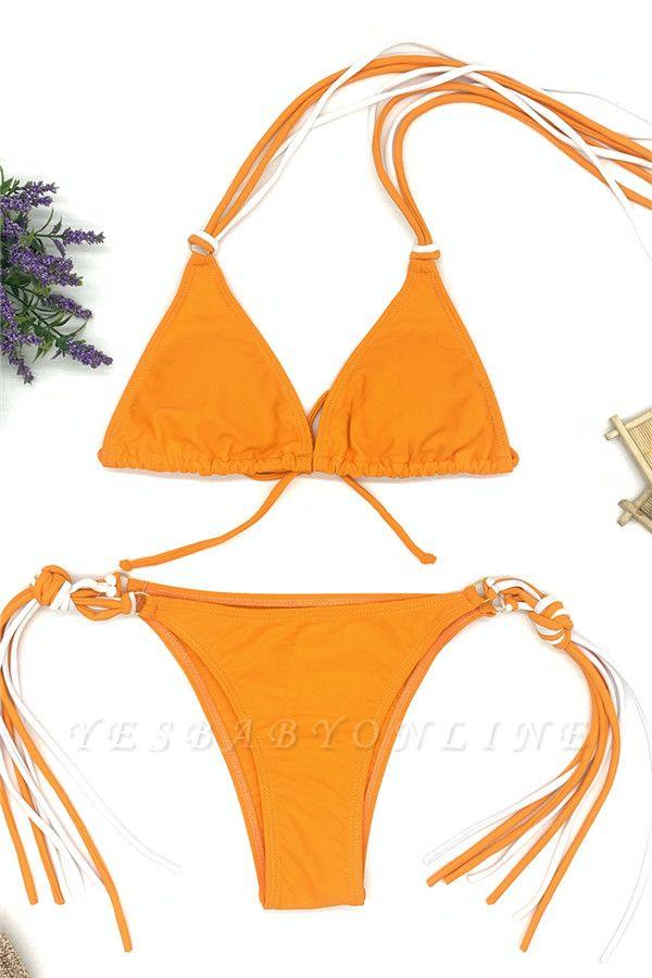 Triangle Pads Halter Straps Multicolor Two Piece Sexy Bikini Sets