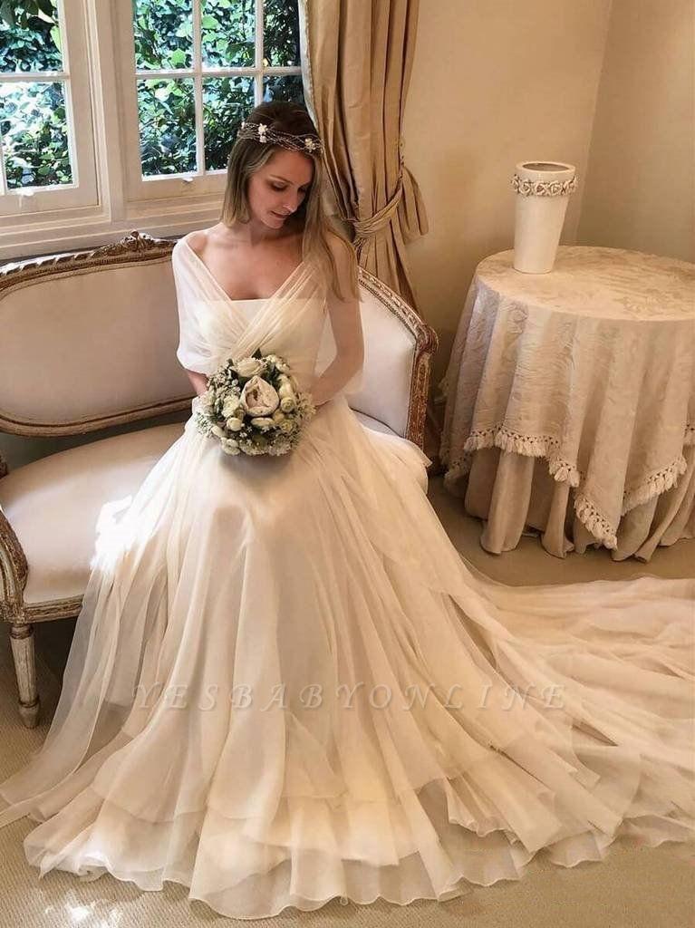 Glamorous Long Sleeves Applique Tiered Glamorous Wedding Dresses